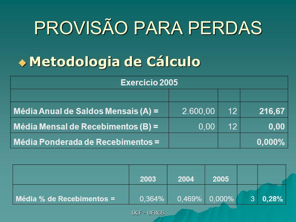 PROVISÃO PARA PERDAS Metodologia de Cálculo Exercício 2005