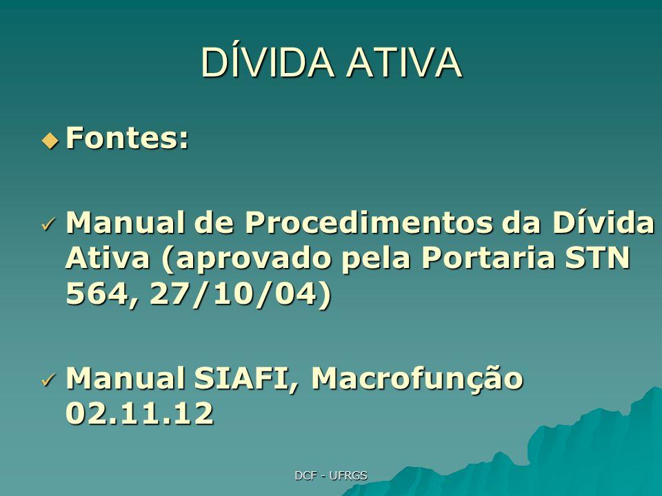 DÍVIDA ATIVA Fontes: Manual de Procedimentos da Dívida Ativa (aprovado pela Portaria STN 564, 27/10/04)