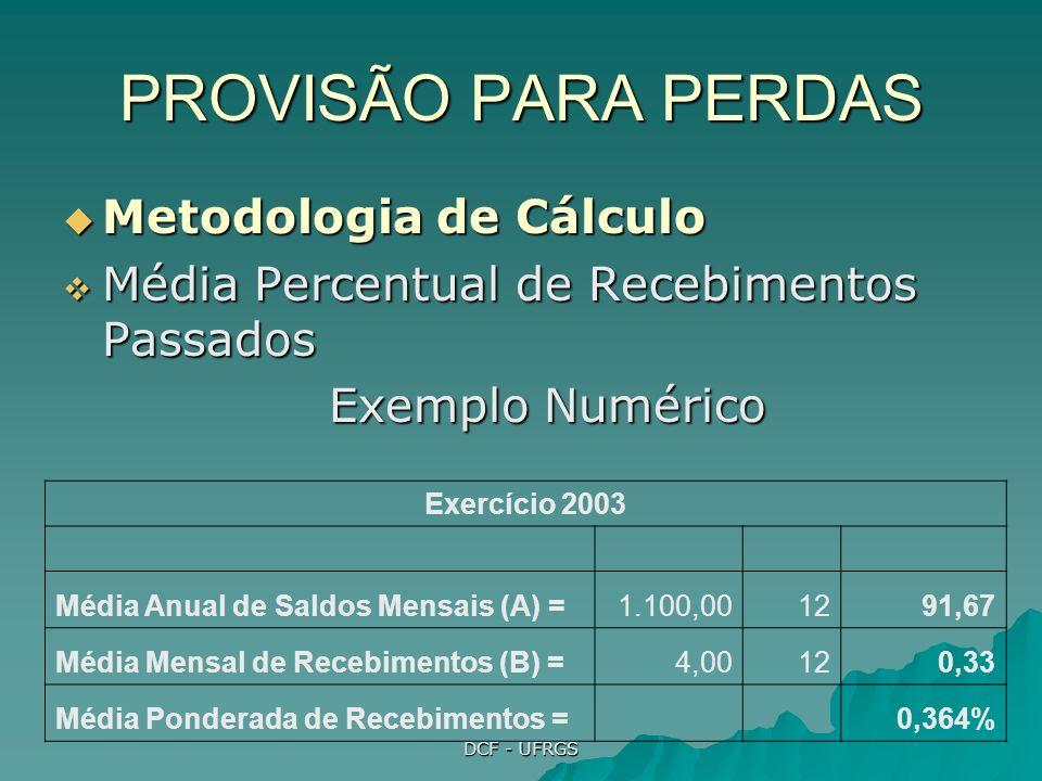 PROVISÃO PARA PERDAS Metodologia de Cálculo