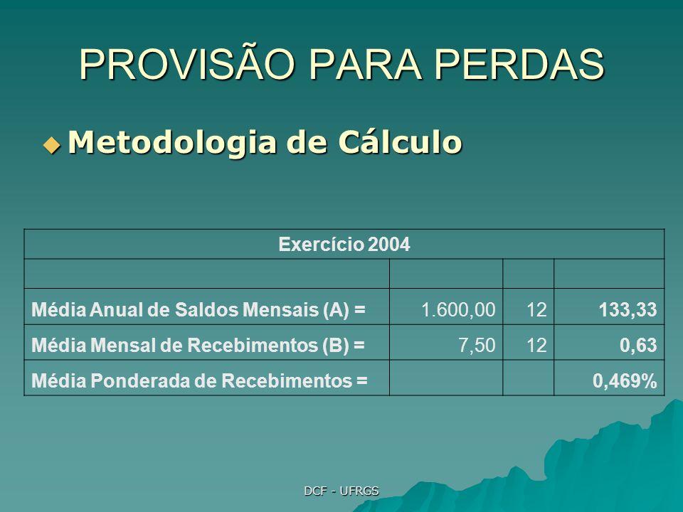 PROVISÃO PARA PERDAS Metodologia de Cálculo Exercício 2004