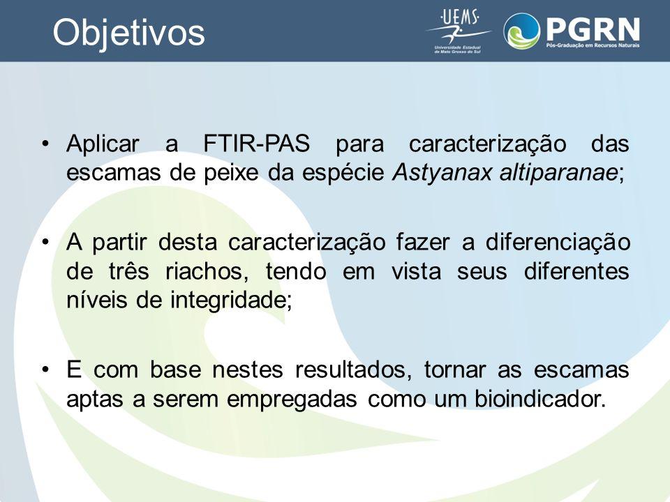 Objetivos Aplicar a FTIR-PAS para caracterização das escamas de peixe da espécie Astyanax altiparanae;