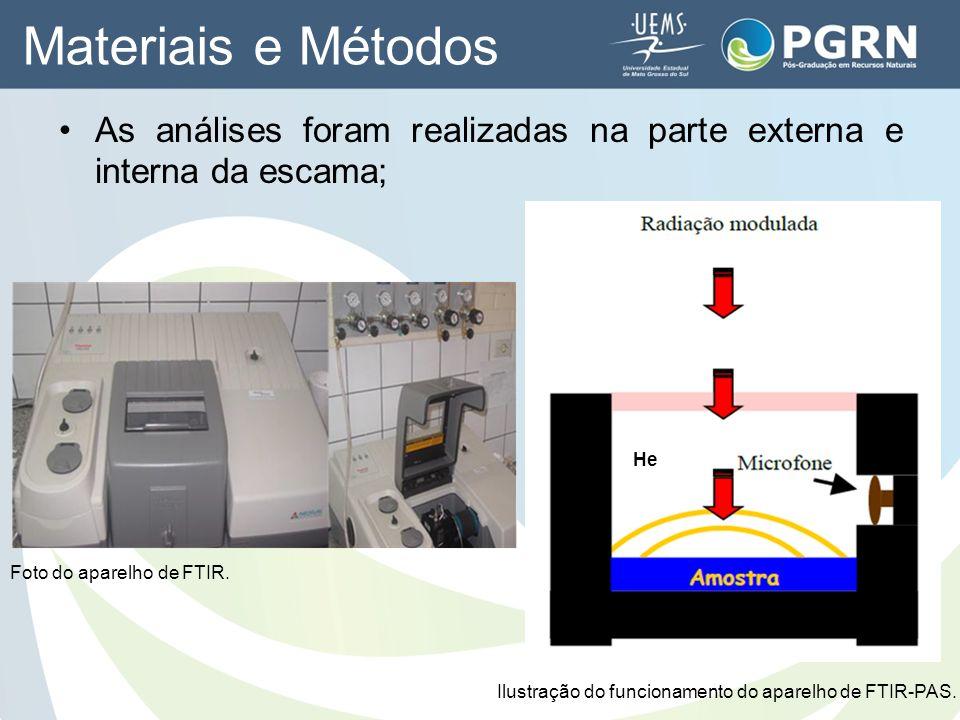 Materiais e Métodos As análises foram realizadas na parte externa e interna da escama; He. Foto do aparelho de FTIR.
