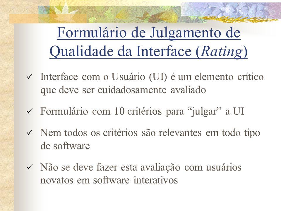 Formulário de Julgamento de Qualidade da Interface (Rating)