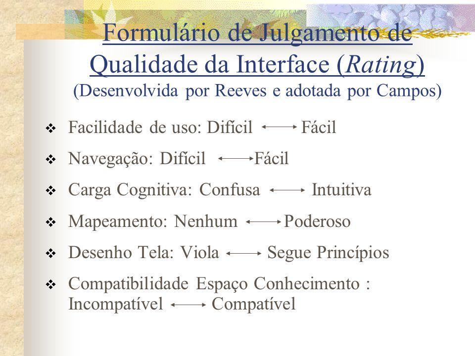 Formulário de Julgamento de Qualidade da Interface (Rating) (Desenvolvida por Reeves e adotada por Campos)