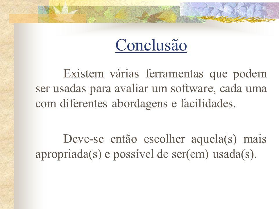 Conclusão Existem várias ferramentas que podem ser usadas para avaliar um software, cada uma com diferentes abordagens e facilidades.