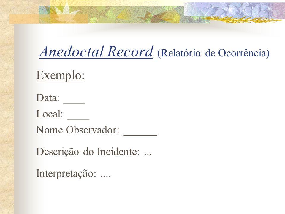 Anedoctal Record (Relatório de Ocorrência)