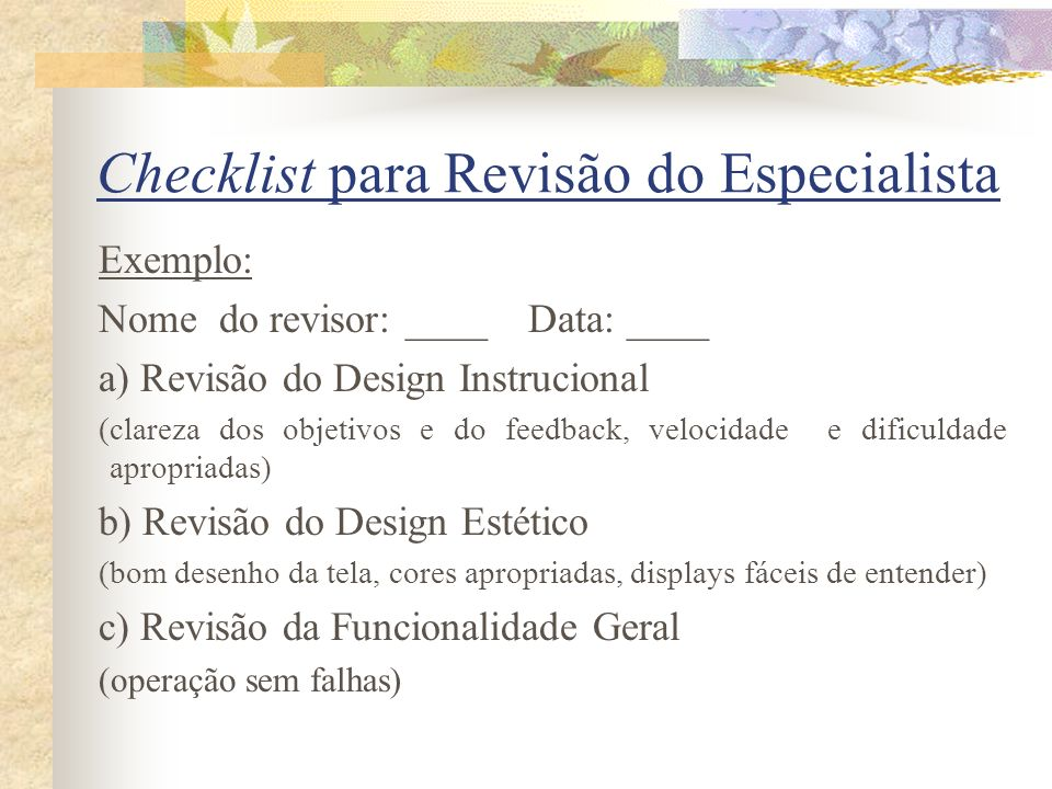 Checklist para Revisão do Especialista