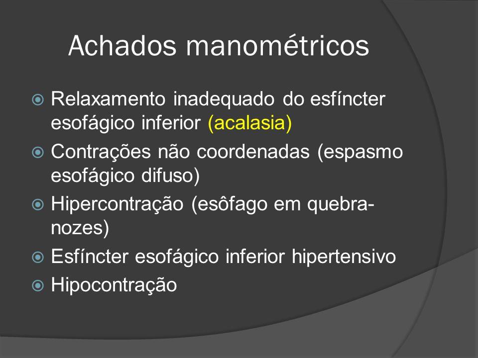 Achados manométricos Relaxamento inadequado do esfíncter esofágico inferior (acalasia) Contrações não coordenadas (espasmo esofágico difuso)