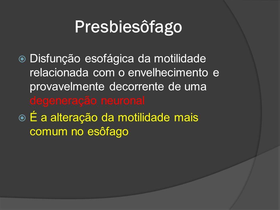 Presbiesôfago Disfunção esofágica da motilidade relacionada com o envelhecimento e provavelmente decorrente de uma degeneração neuronal.