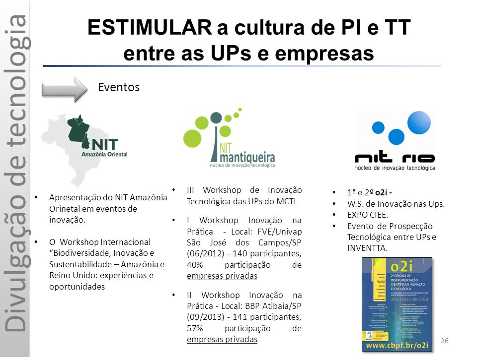 ESTIMULAR a cultura de PI e TT entre as UPs e empresas