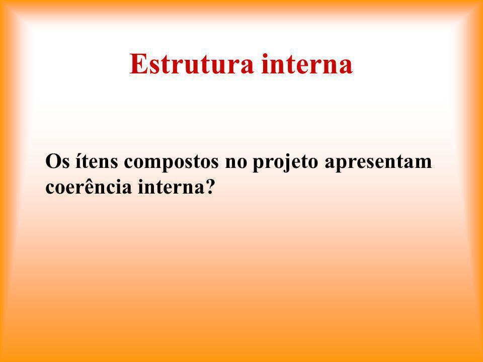 Estrutura interna Os ítens compostos no projeto apresentam coerência interna