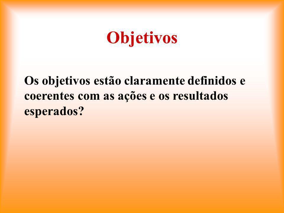 Objetivos Os objetivos estão claramente definidos e coerentes com as ações e os resultados esperados