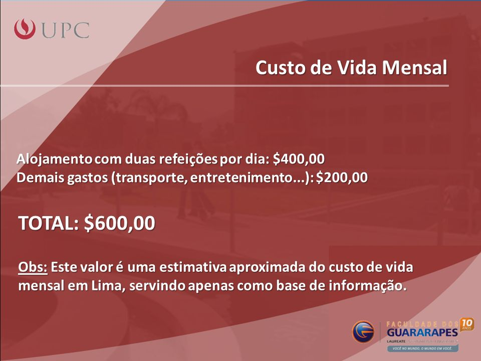 Custo de Vida Mensal TOTAL: $600,00
