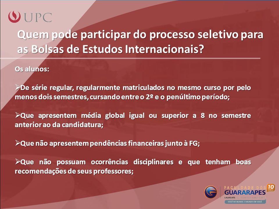 Quem pode participar do processo seletivo para as Bolsas de Estudos Internacionais