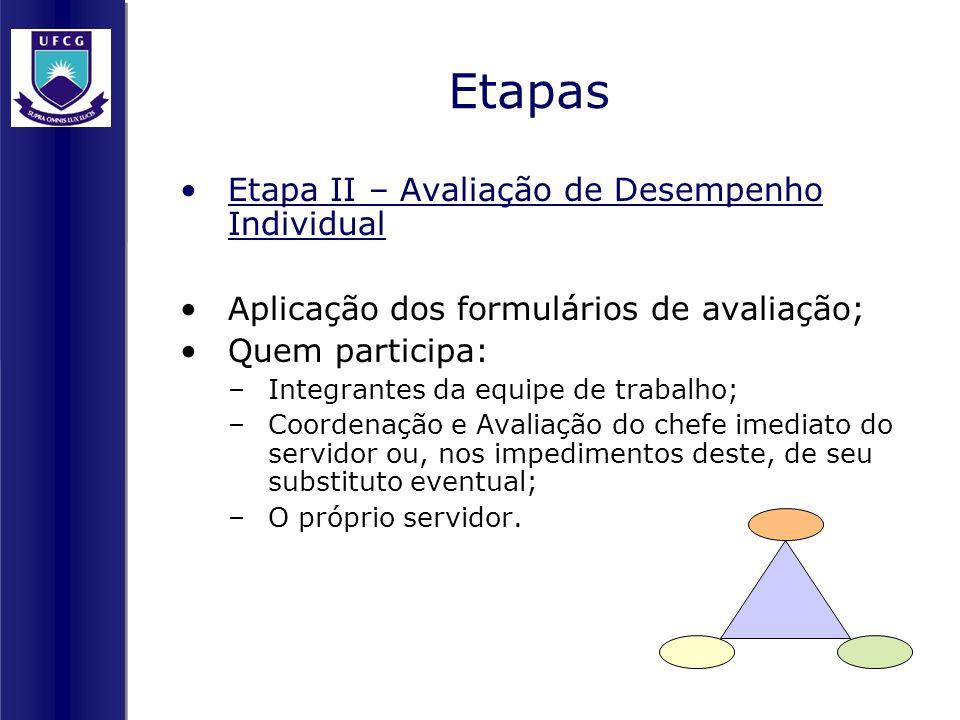 Etapas Etapa II – Avaliação de Desempenho Individual