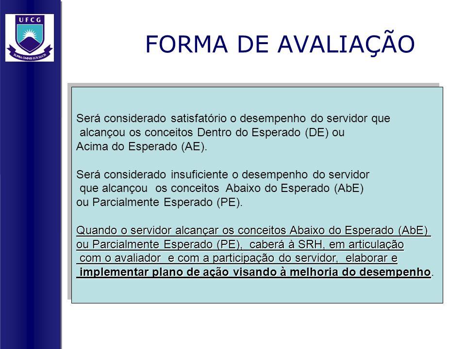 FORMA DE AVALIAÇÃO Será considerado satisfatório o desempenho do servidor que. alcançou os conceitos Dentro do Esperado (DE) ou.