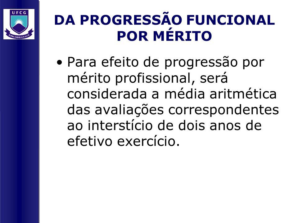 DA PROGRESSÃO FUNCIONAL POR MÉRITO