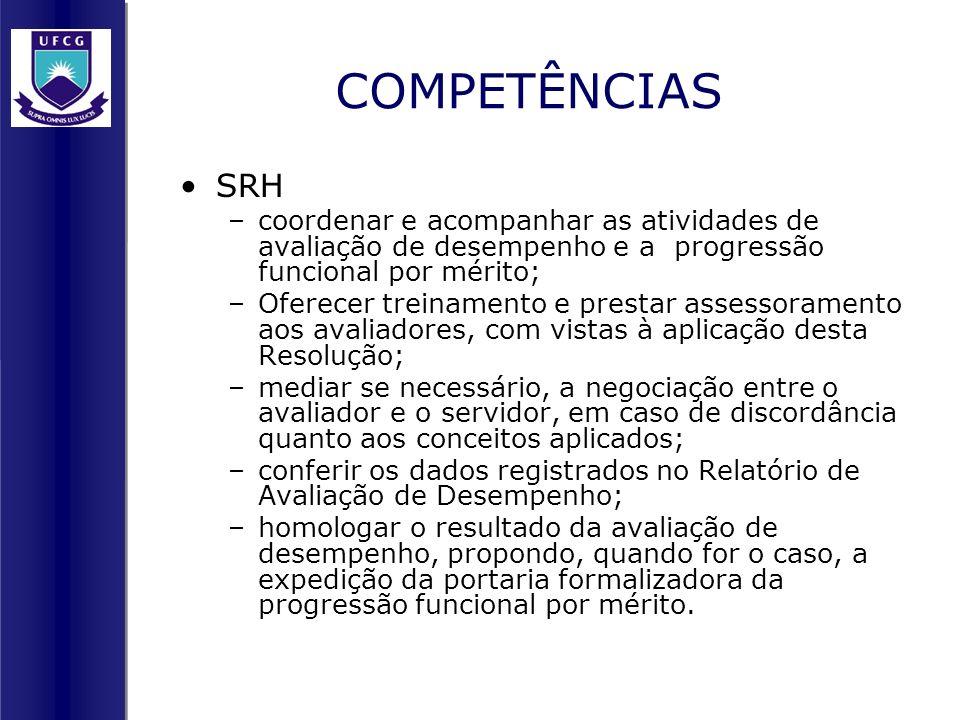 COMPETÊNCIAS SRH. coordenar e acompanhar as atividades de avaliação de desempenho e a progressão funcional por mérito;