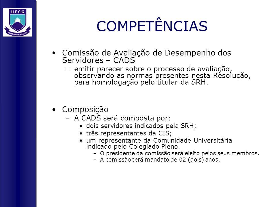 COMPETÊNCIAS Comissão de Avaliação de Desempenho dos Servidores – CADS