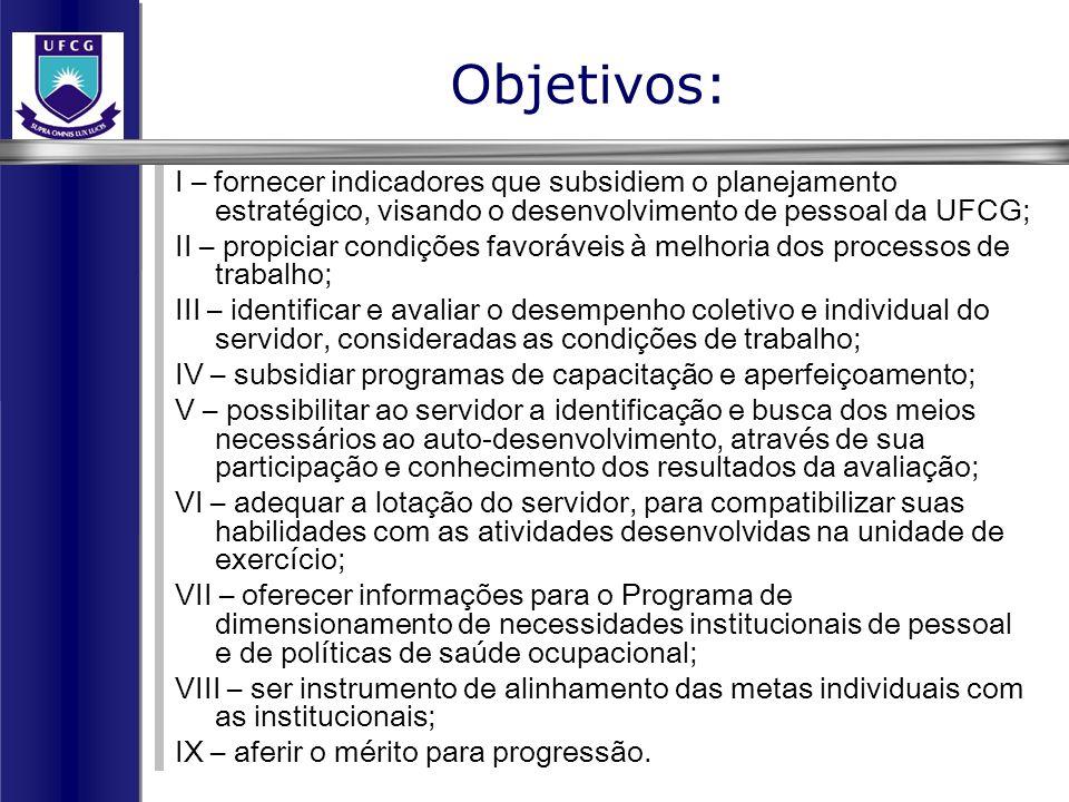 Objetivos: I – fornecer indicadores que subsidiem o planejamento estratégico, visando o desenvolvimento de pessoal da UFCG;