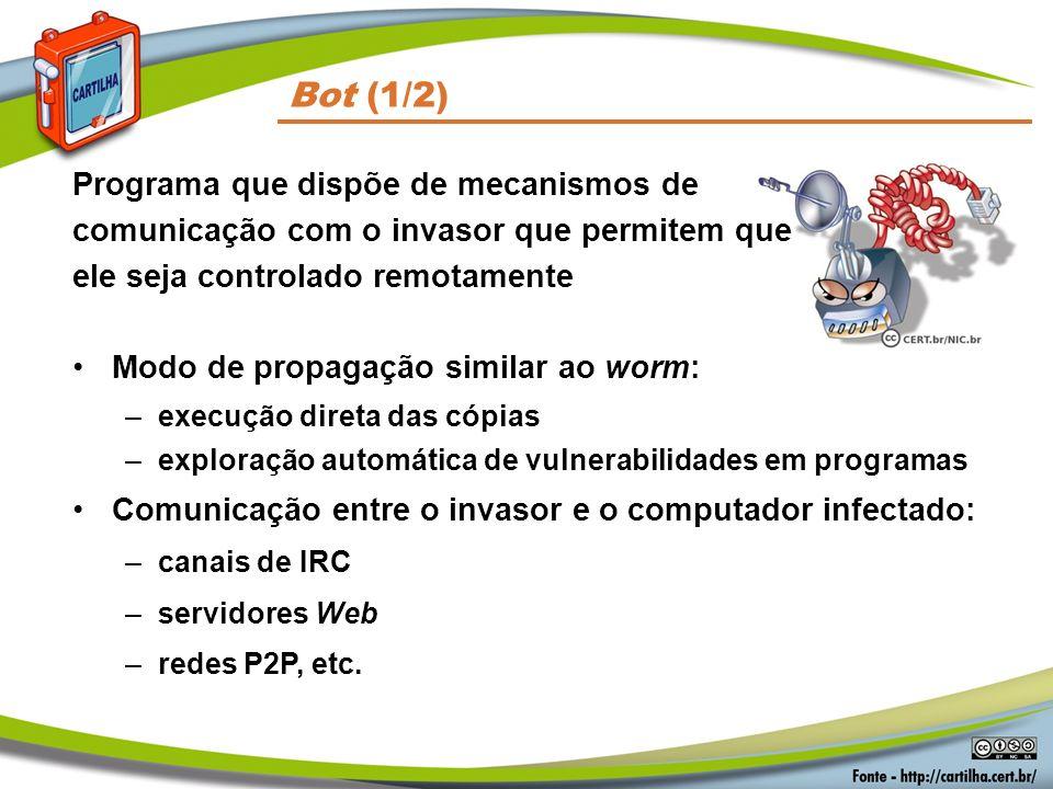 Códigos Maliciosos Bot (1/2) Programa que dispõe de mecanismos de comunicação com o invasor que permitem que ele seja controlado remotamente.
