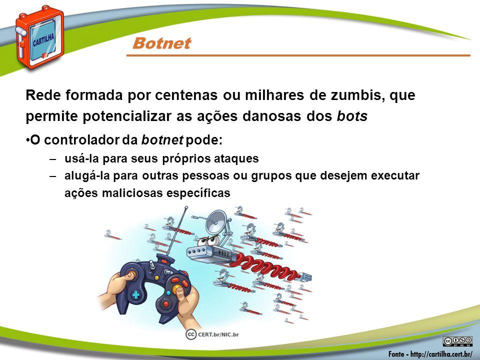 Códigos Maliciosos Botnet. Rede formada por centenas ou milhares de zumbis, que permite potencializar as ações danosas dos bots.