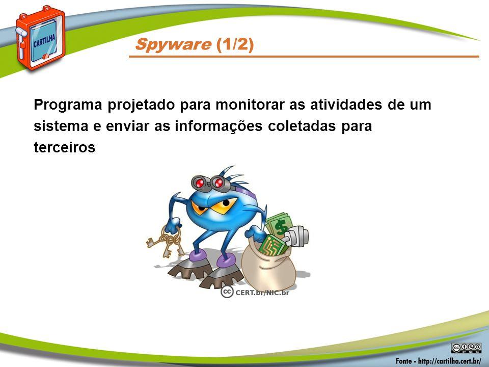 Códigos Maliciosos Spyware (1/2) Programa projetado para monitorar as atividades de um sistema e enviar as informações coletadas para terceiros.