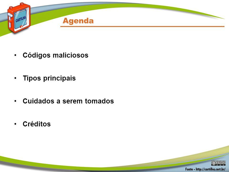 Agenda Códigos maliciosos Tipos principais Cuidados a serem tomados