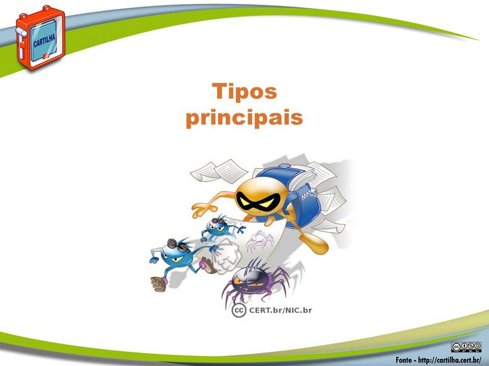 Tipos principais Códigos Maliciosos Tipos principais: