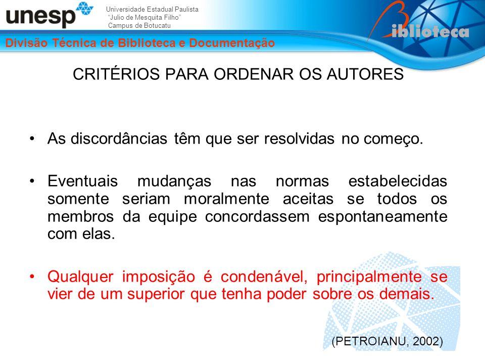 CRITÉRIOS PARA ORDENAR OS AUTORES