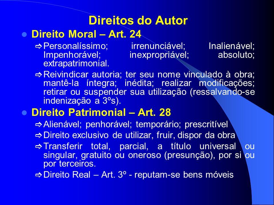 Direitos do Autor Direito Moral – Art. 24