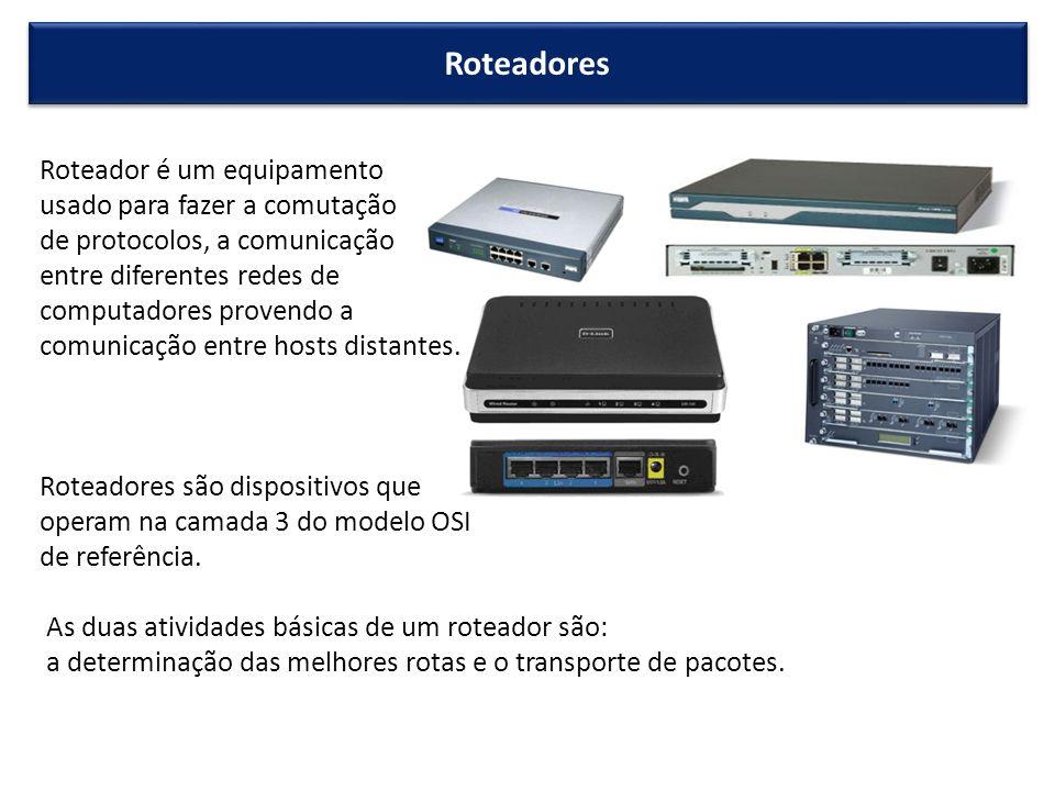 Roteadores Roteador é um equipamento usado para fazer a comutação