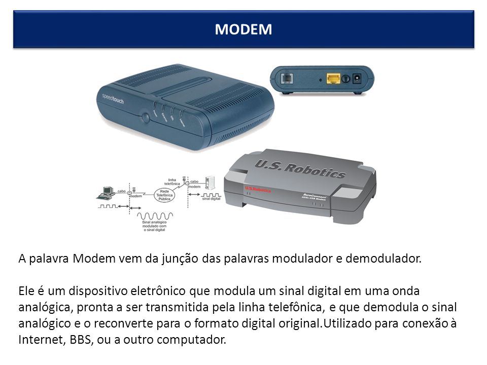 MODEM A palavra Modem vem da junção das palavras modulador e demodulador.