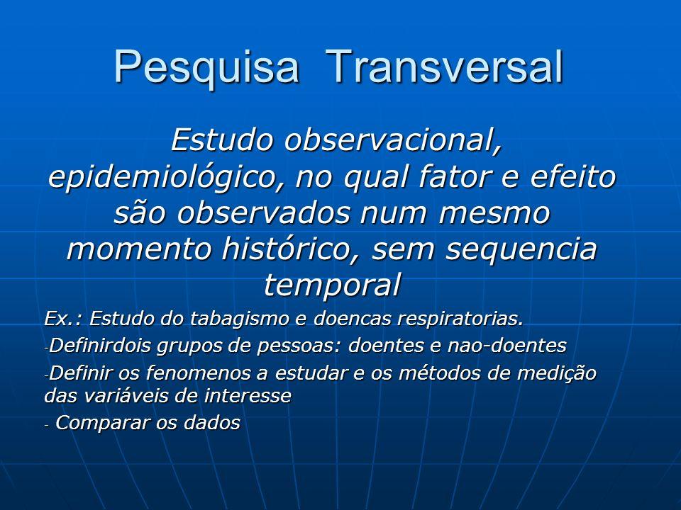 Pesquisa Transversal Estudo observacional, epidemiológico, no qual fator e efeito são observados num mesmo momento histórico, sem sequencia temporal.