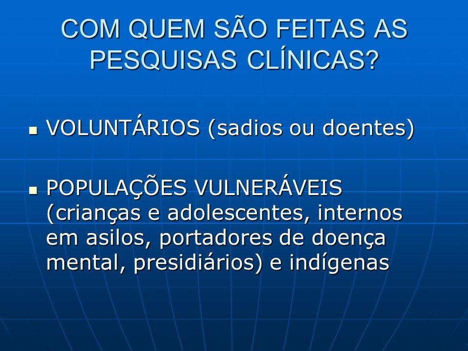COM QUEM SÃO FEITAS AS PESQUISAS CLÍNICAS