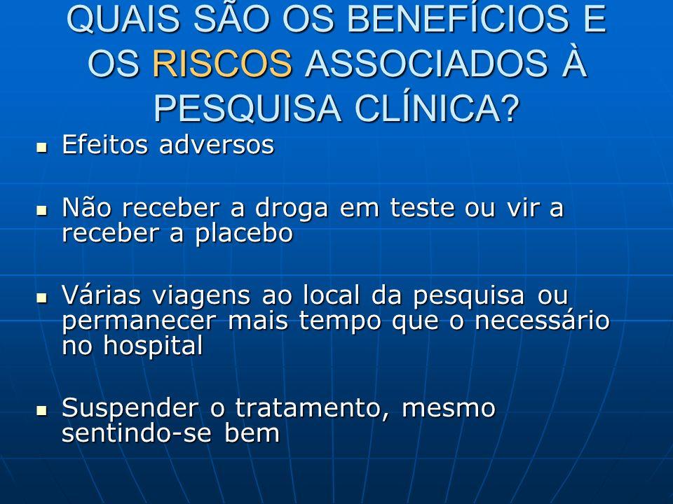 QUAIS SÃO OS BENEFÍCIOS E OS RISCOS ASSOCIADOS À PESQUISA CLÍNICA