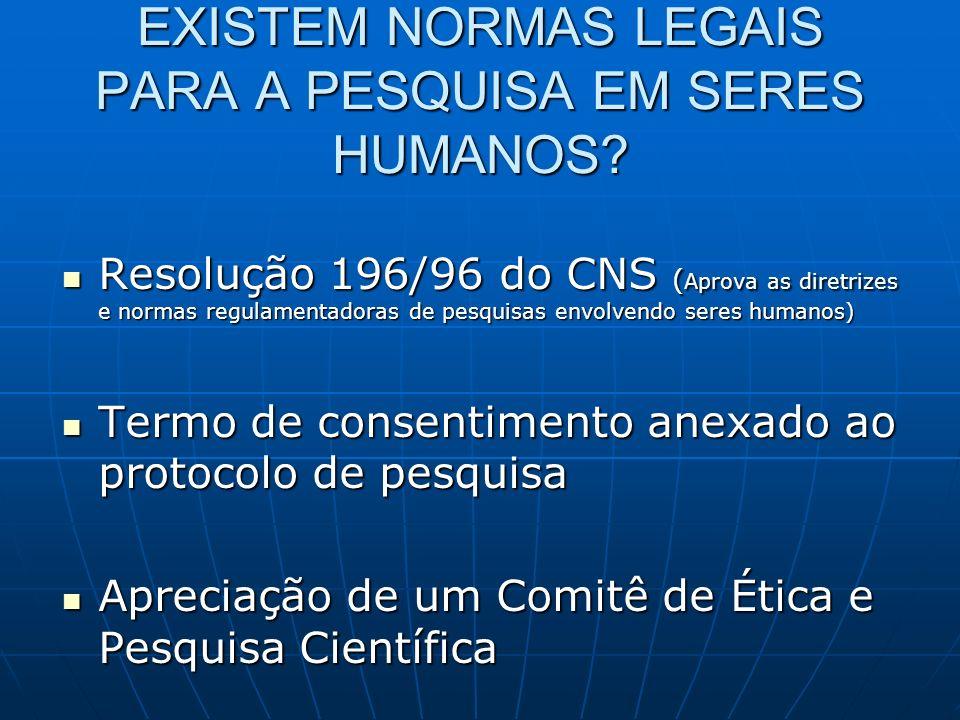 EXISTEM NORMAS LEGAIS PARA A PESQUISA EM SERES HUMANOS