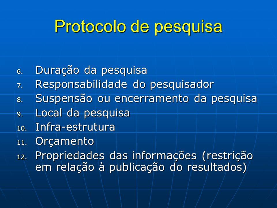 Protocolo de pesquisa Duração da pesquisa