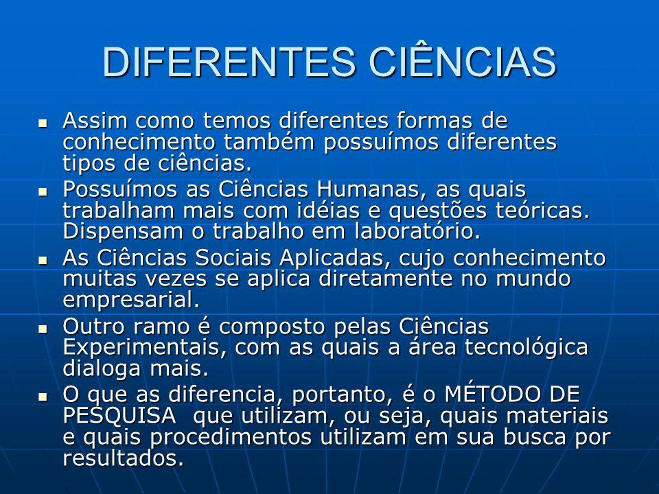 DIFERENTES CIÊNCIAS Assim como temos diferentes formas de conhecimento também possuímos diferentes tipos de ciências.