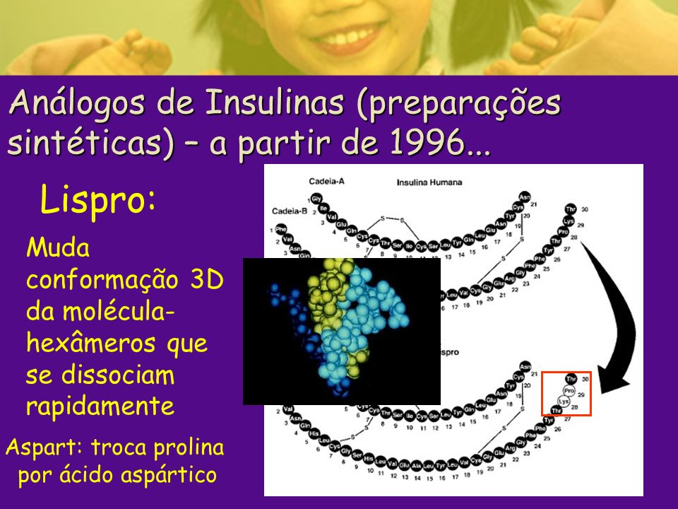 Análogos de Insulinas (preparações sintéticas) – a partir de 1996...
