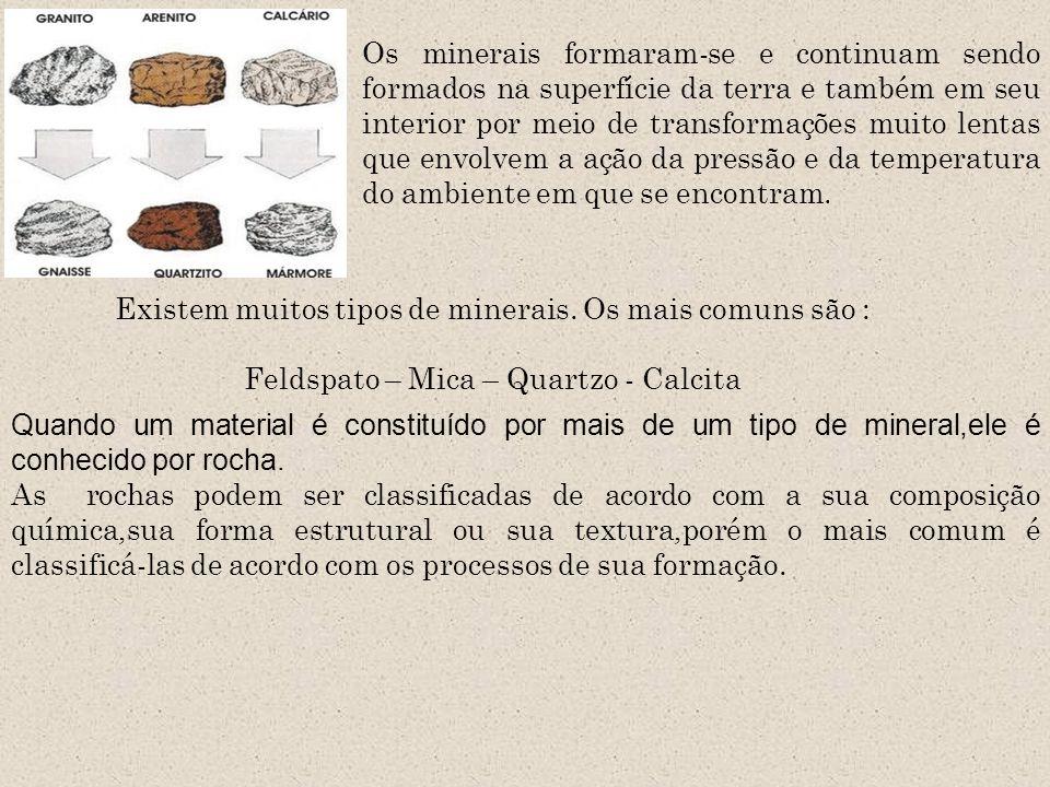 Existem muitos tipos de minerais. Os mais comuns são :