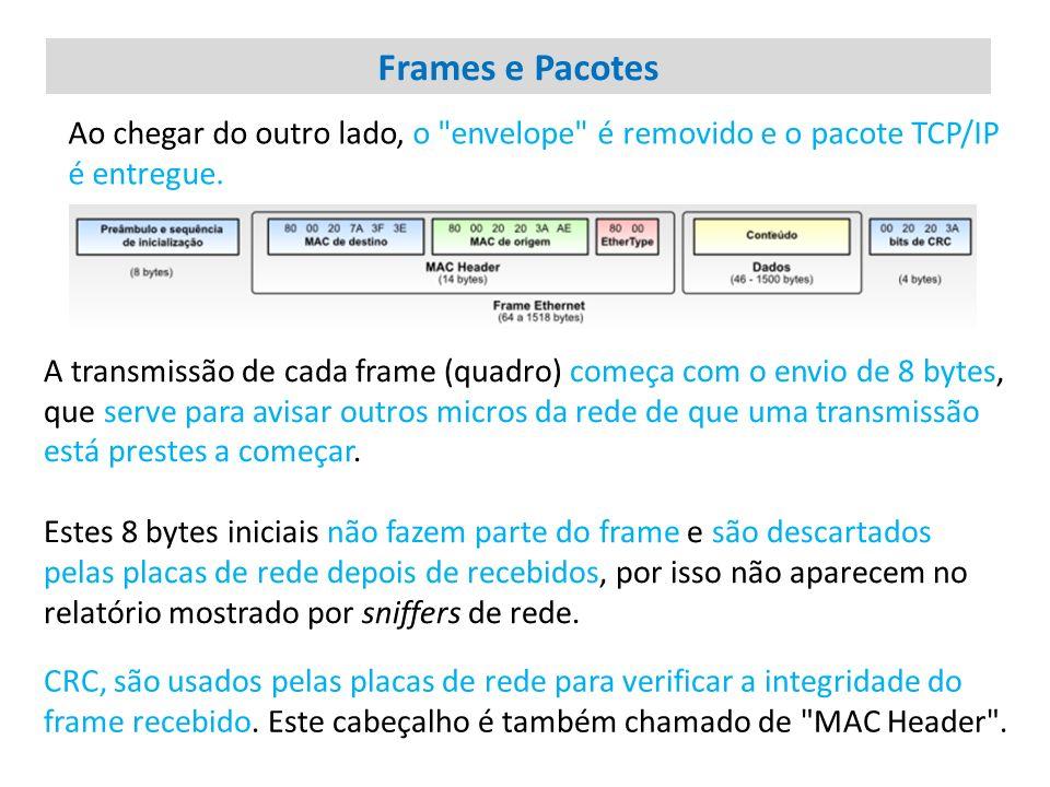 Frames e Pacotes Ao chegar do outro lado, o envelope é removido e o pacote TCP/IP é entregue.