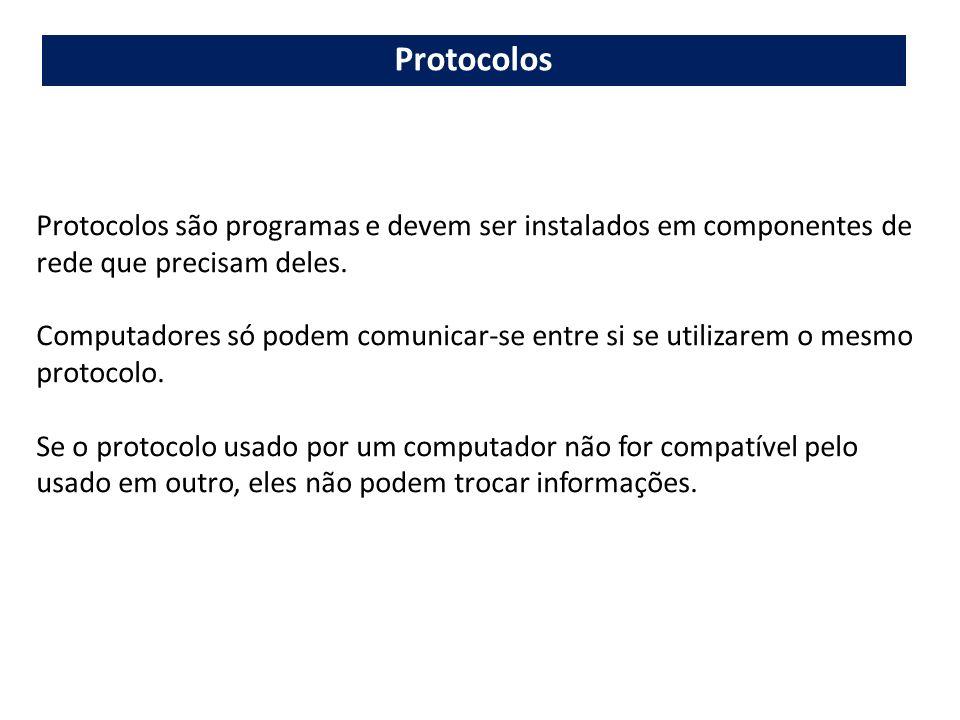 Protocolos Protocolos são programas e devem ser instalados em componentes de rede que precisam deles.
