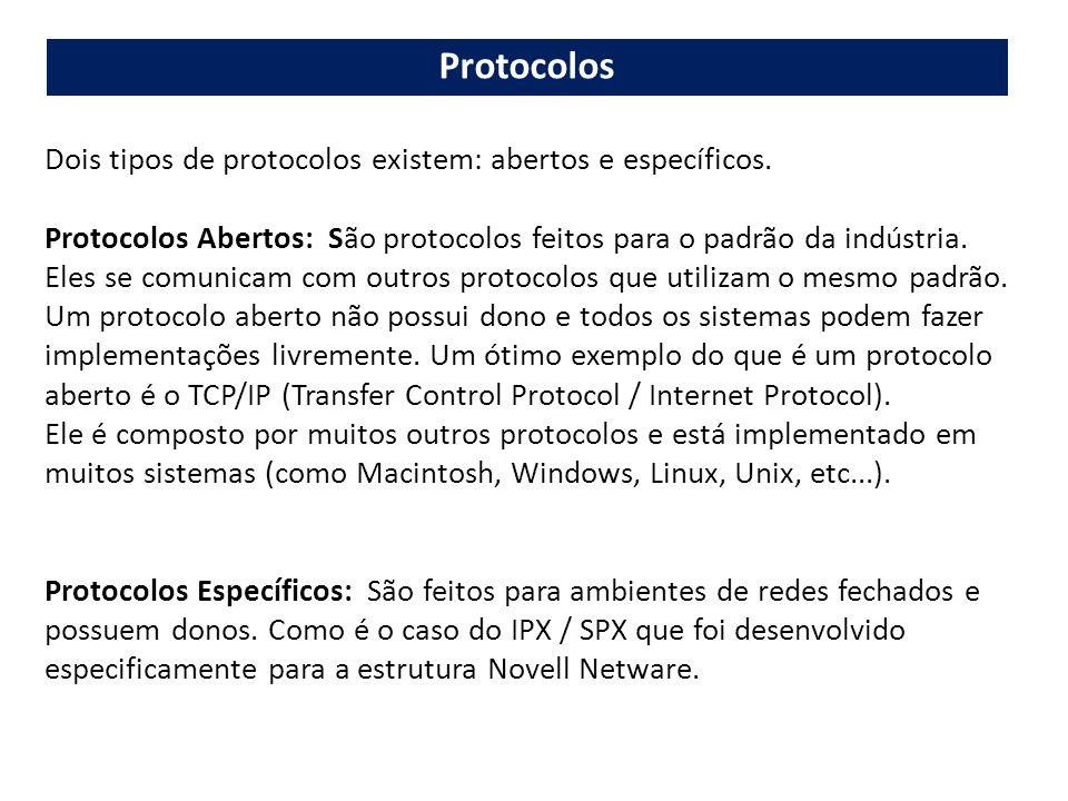 Protocolos Dois tipos de protocolos existem: abertos e específicos.