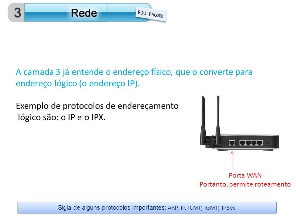 Exemplo de protocolos de endereçamento lógico são: o IP e o IPX.