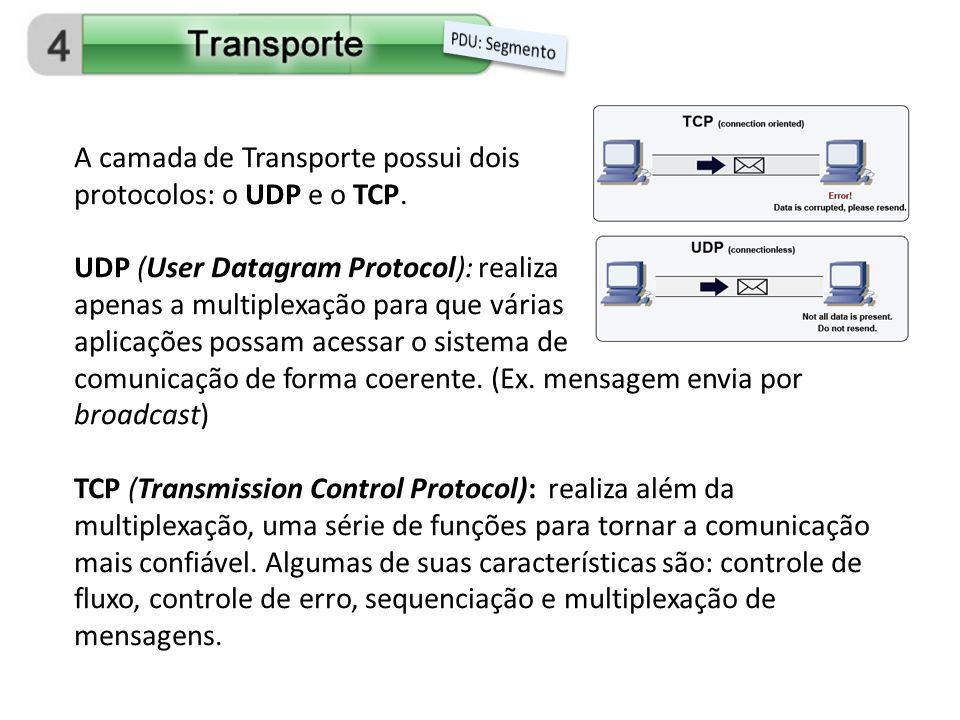 A camada de Transporte possui dois protocolos: o UDP e o TCP.