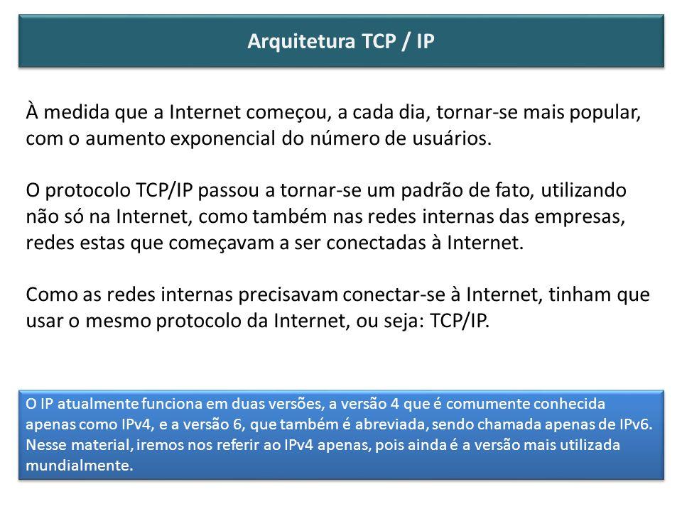 Arquitetura TCP / IP À medida que a Internet começou, a cada dia, tornar-se mais popular, com o aumento exponencial do número de usuários.