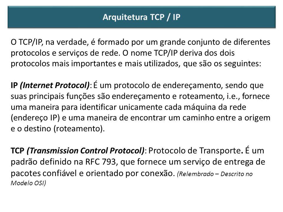 Arquitetura TCP / IP O TCP/IP, na verdade, é formado por um grande conjunto de diferentes.