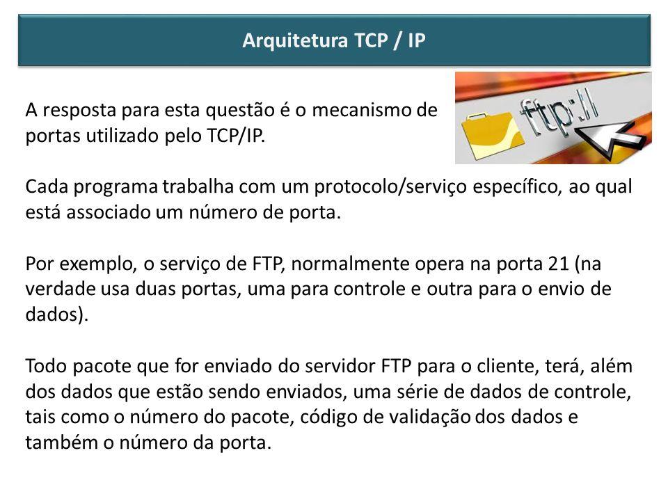 Arquitetura TCP / IP A resposta para esta questão é o mecanismo de