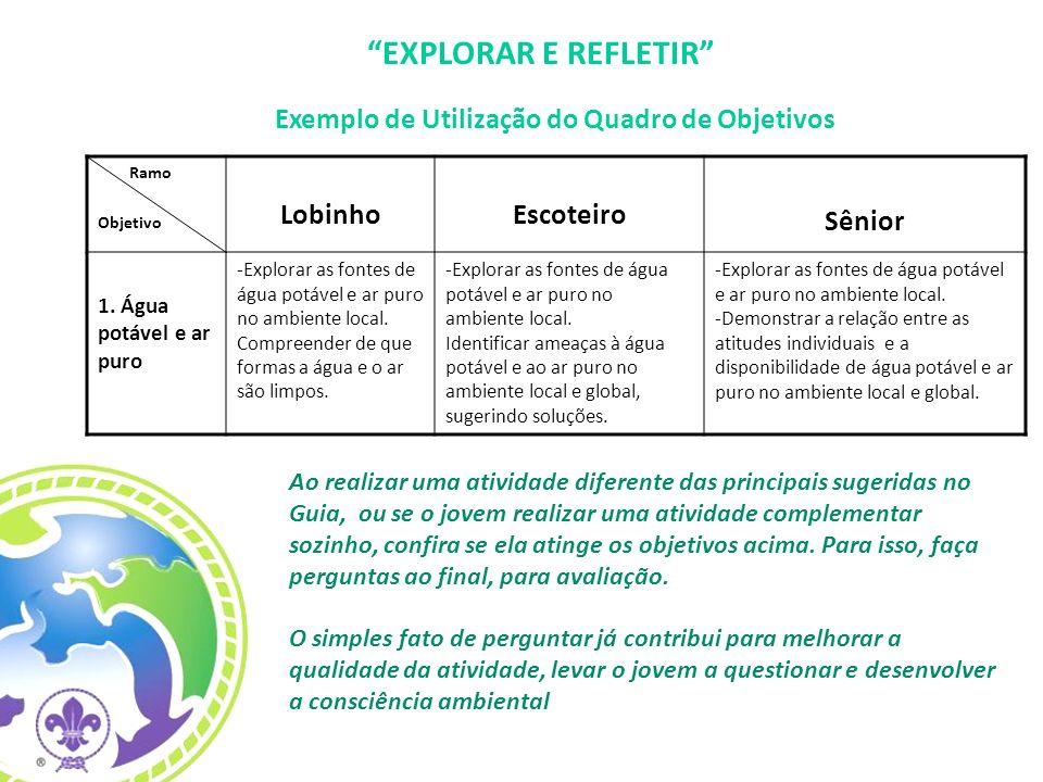 Exemplo de Utilização do Quadro de Objetivos